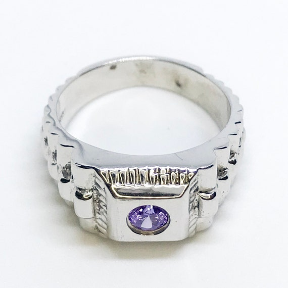 NEW 14K White Gold Layered on Sterling Silver Square with Circle Purple Stone Ring