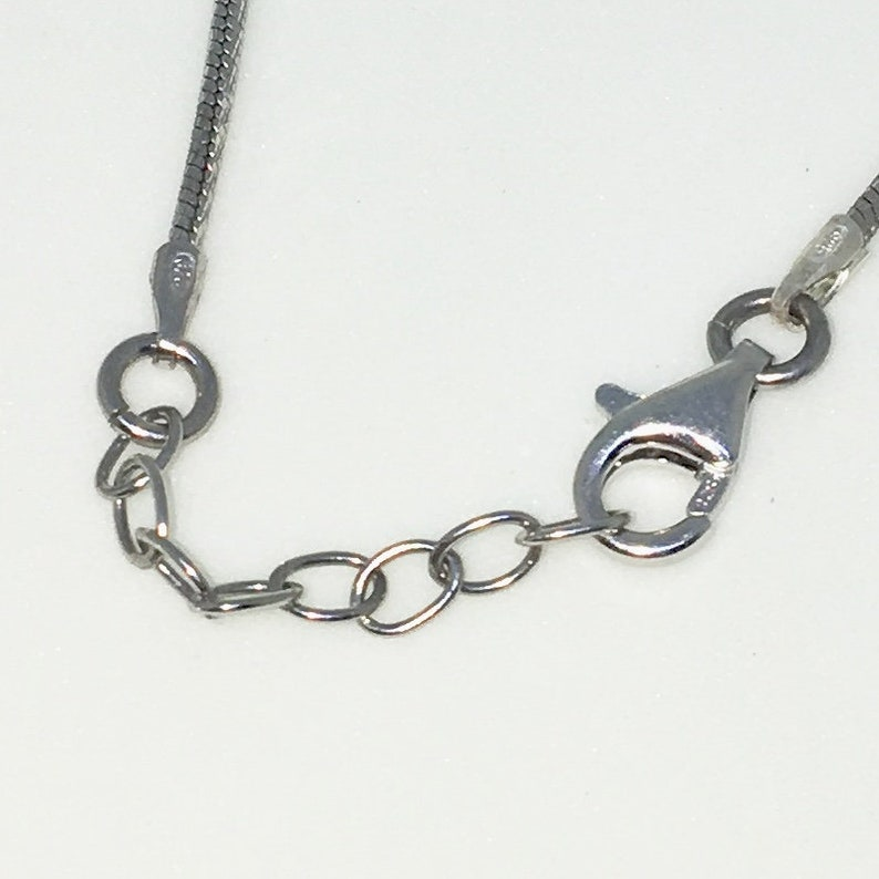Brand New White Gold on 925 Solid Sterling Silver 16 inch Peach Beads on Snake chain Necklace with Lobster Claw Clasp and Extension