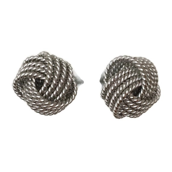Brand New white gold on 925 Silver Studs Earrings 4 layer twisted ball knot ( 9 . 9 mm )