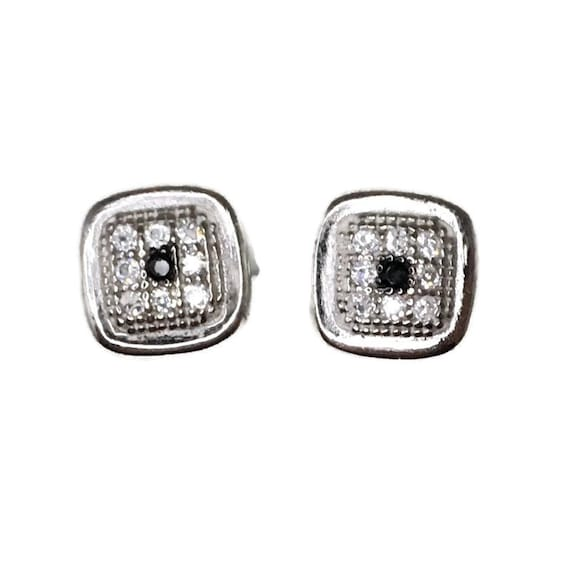 Brand New white gold on 925 Silver Studs Earrings Small Square with white round CZ and one black CZ ( 7 . 0 mm )