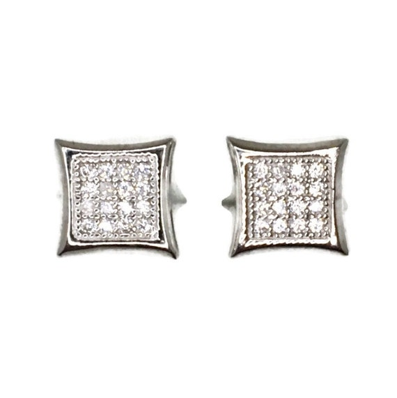 Brand New white gold on 925 Silver Studs Earrings Small Square with indented sides with white round CZ ( 8 . 7 mm )