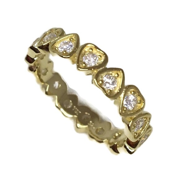 Brand New Yellow Gold on 925 Sterling Silver Eternal Ring Band Heart shape White CZ ( size 6 )