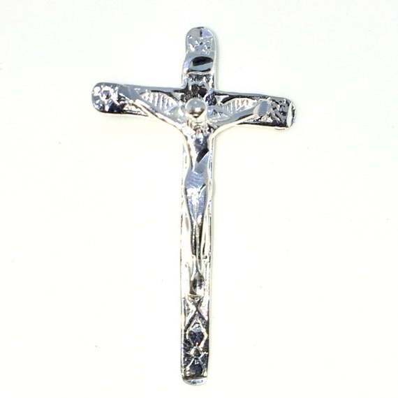 Brand New 925 Solid Sterling Silver Large Pendant with Jesus Crucifixion Cross