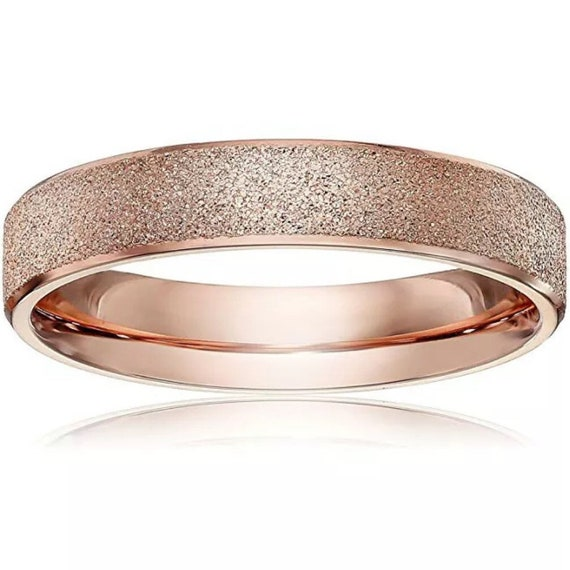 6mm Size10 Rose Gold plated on Stainless Steel wide unisex women men Ring Band