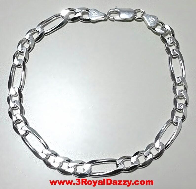 a9977d657db5 Hombres mujeres niños plata italiana Figaro enlace cadena pulsera 6,5 mm 7