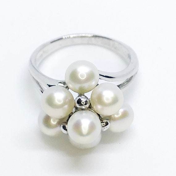 NEW 14K white gold layered on sterling silver pearl bush ring