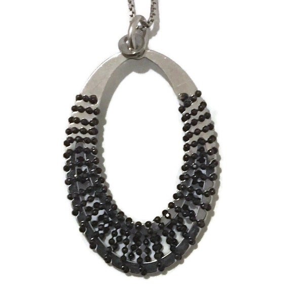 Brand New White Gold on 925 Sterling Silver Pendant oval shape with black small beads with free chain ( 23 . 8 mm )