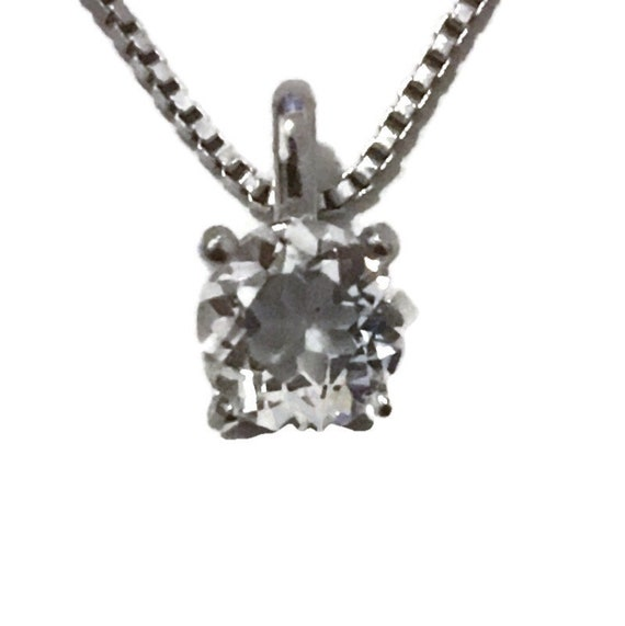 Brand New White Gold on 925 Sterling Silver Pendant 4 prong on white round CZ with free chain ( 5 . 8 mm )
