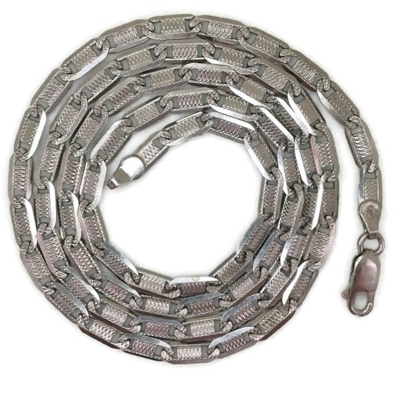 White gold layer on silver necklace unique flat chain 24 inch
