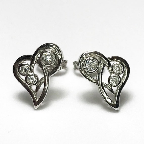 NEW 14K White Gold on 925 Sterling Silver Heart Shaped With Stones Stud Earrings