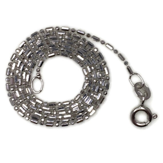 Brand New White Gold on 925 Sterling Silver Necklace 16 inch Bear and Beads chain with Spring Ring Clasp ( 0 . 8 mm )
