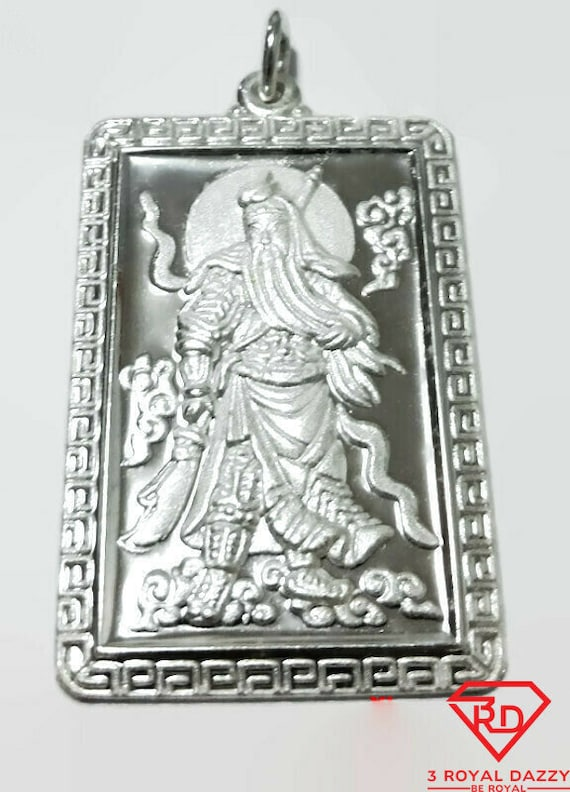 XL- Lord Guan Yu / Guan Gong God of War 999 fine solid Silver Rectangle Pendant charm