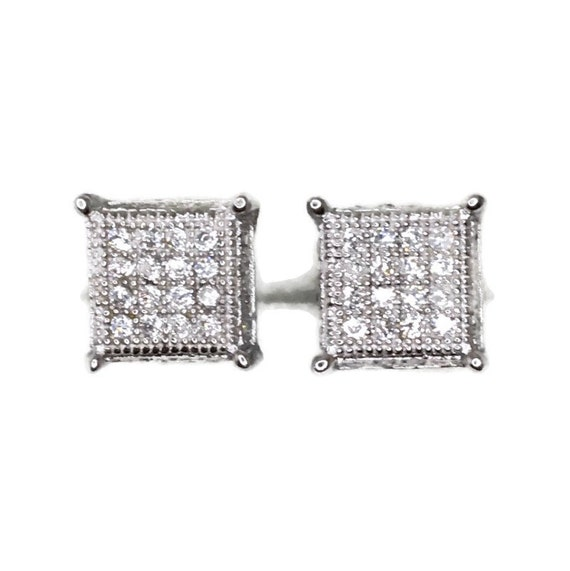 Brand New white gold on 925 Silver Studs Earrings Square Block with white round CZ ( 7 . 9 mm )