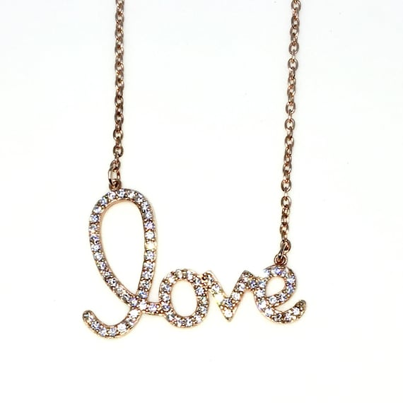 New Rose Gold Layered 925 Solid Sterling Silver 16 inch LOVE CZ Cable Chain Necklace with springring clasp and Extension