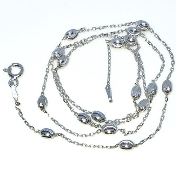 New White Gold Layered 925 Solid Sterling Silver 18 inch Diamond Cut Silver beads & Cable Chain Necklace with springring clasp