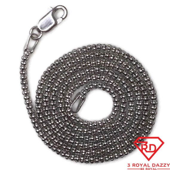 Brand New White Gold on 925 Sterling Silver Necklace 18 inch Popcorn chain with Lobsterclaw Clasp ( 1 . 7 mm )
