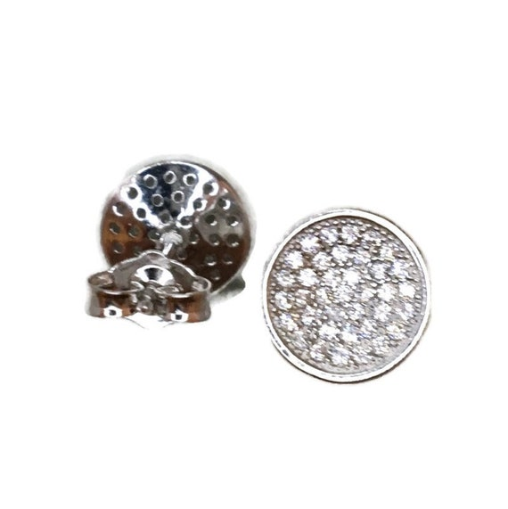 Brand New white gold on 925 Silver Studs Earrings concave circle with white round CZ ( 9 . 5 mm )