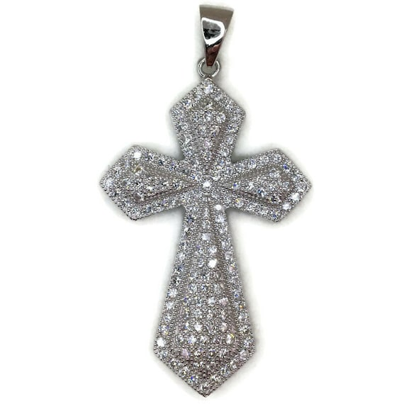 White Gold layer Silver Pendant large pointy Cross and white round CZ