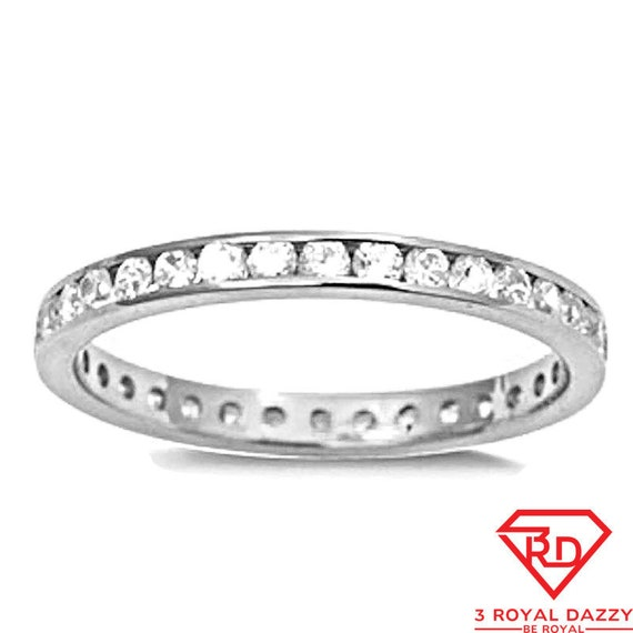 1.00CT BRILLIANT CREATED DIAMOND ETERNITY RING SOLID 14K WHITE GOLD BAND SIZE 7