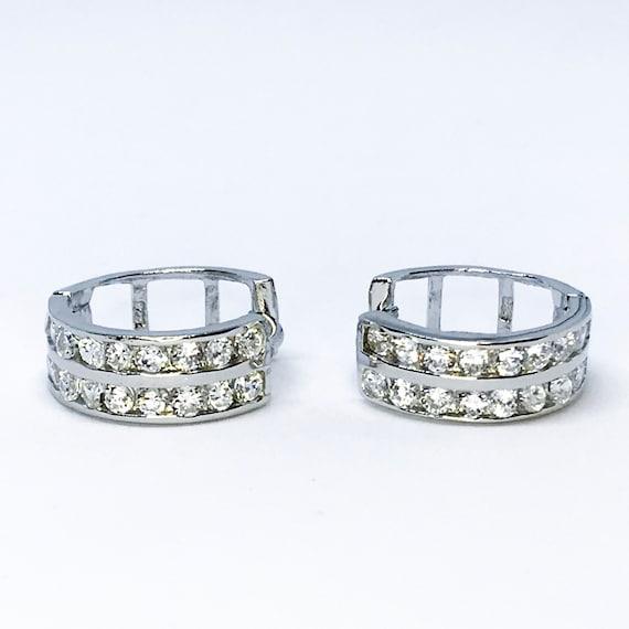 14K white gold on sterling silver hoop earrings
