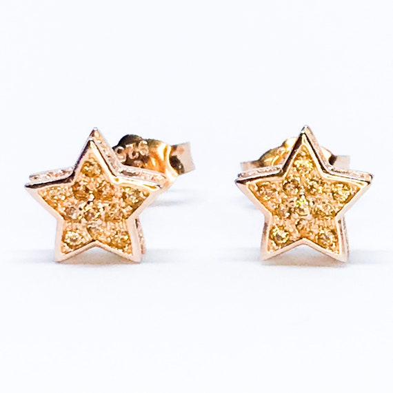NEW 14K Rose Gold Latered on Sterling Silver Star Earrings