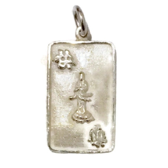 Brand New Anti-tarnish Silver Pendant smooth rectangle shape with quanyin goddess of mercy ( 14 . 2 mm )