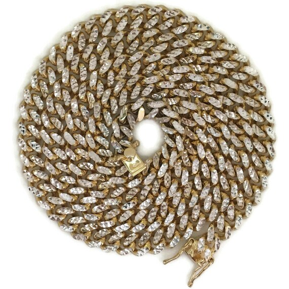 Yellow gold layer on silver reversible Large diamond cut curb chain