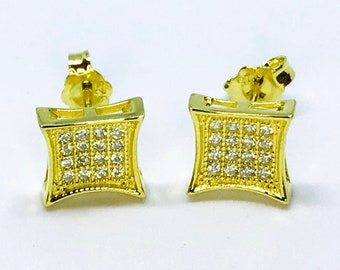 14k Yellow Gold on Sterling Silver Square Earrings