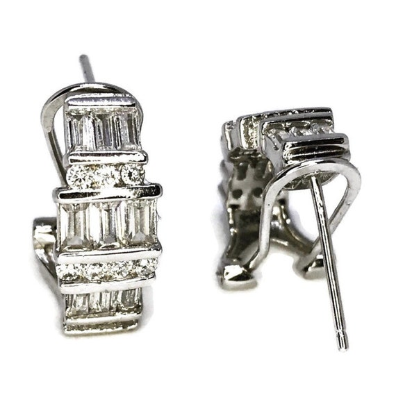 Unique White Gold on Sterling Silver Earrings