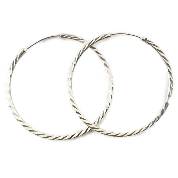 Brand New Anti-tarnish Silver Earrings Hoop diamond cut style ( 40 . 9 mm )