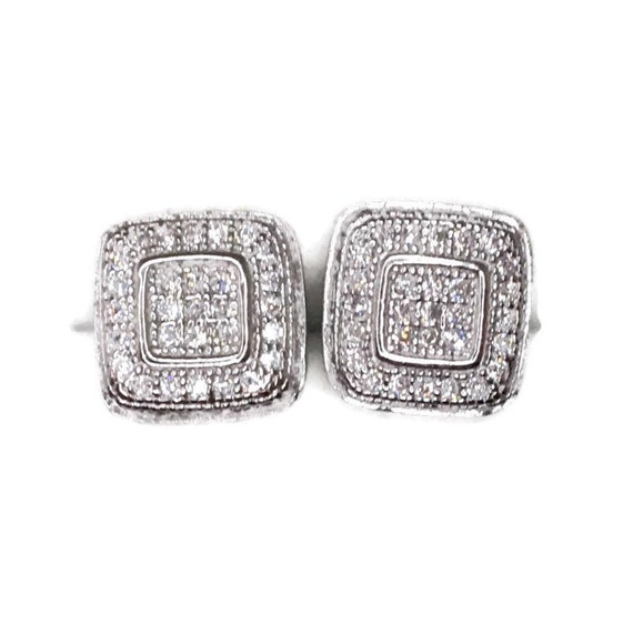 Brand New white gold on 925 Silver Studs Earrings Square in Square design with white round CZ ( 9 . 7 mm )