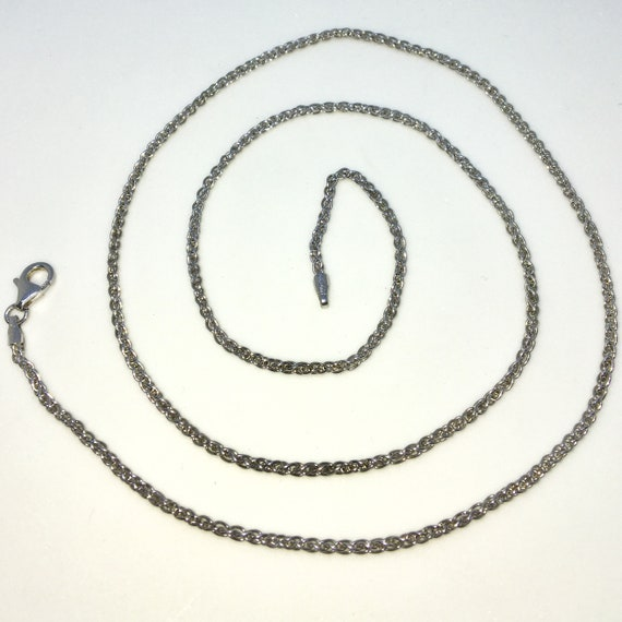 Brand New White Gold on 925 Solid Sterling Silver 22 inch Small Spiga Chain Necklace with Lobster Claw Clasp