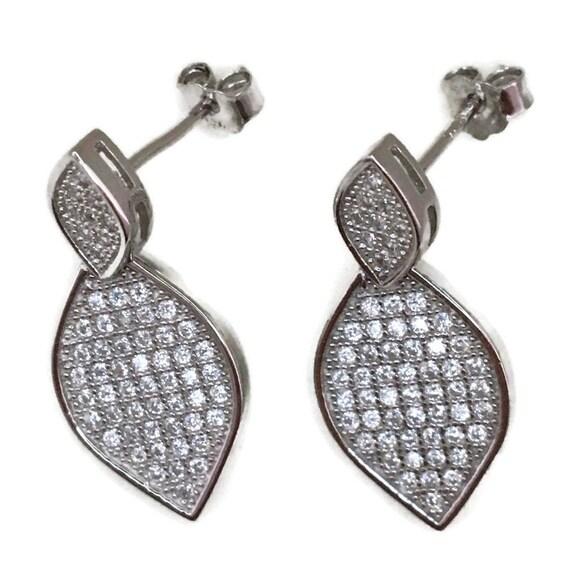 White gold on Silver dangle drop Earrings eye shape & white round CZ
