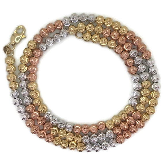 multi tone gold layer on silver necklace Rigid diamond cut bead