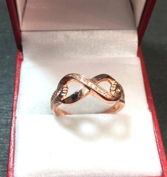 New 0.10 ct Cubic Zirconia 14k Rose Gold On 925 Silver Infinity Ring
