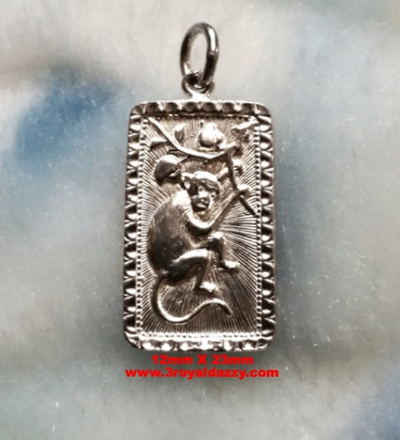 Chinese Lunar Zodiac Horoscope 925 Sterling Silver Rectangle Year of Monkey Pendant charm