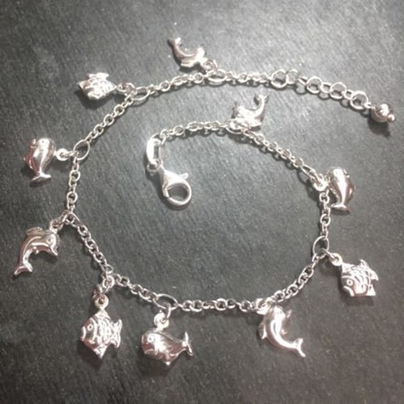 New silver dangling dolphin whale fish sea animal charm anklet link 1.5mm-10""