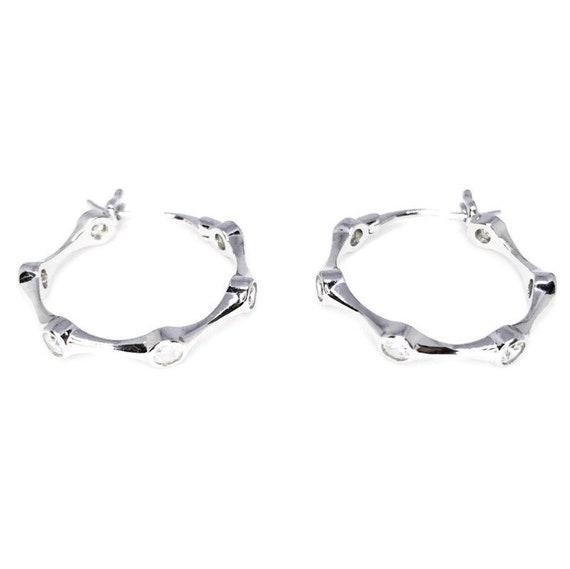 Circle Stylish Sterling Silver Hoop Earrings