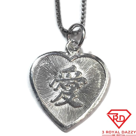 """New 925 Silver Chinese Character Writing """"Love"""" and  Happy Heart Charm Pendant Reversible Design"""