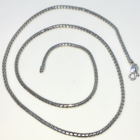 Brand New White Gold on 925 Solid Sterling Silver 18 inch Small Smooth Round box Chain Necklace with Lobster Claw Clasp