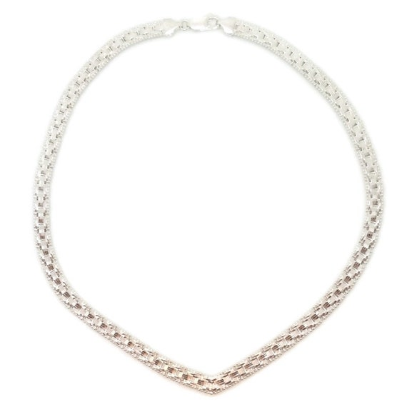 Brand New White Gold on 925 Sterling Silver Necklace 16 inch Artistic Reversible V-shape Chain with Lobsterclaw Clasp ( 6 . 2 mm  )