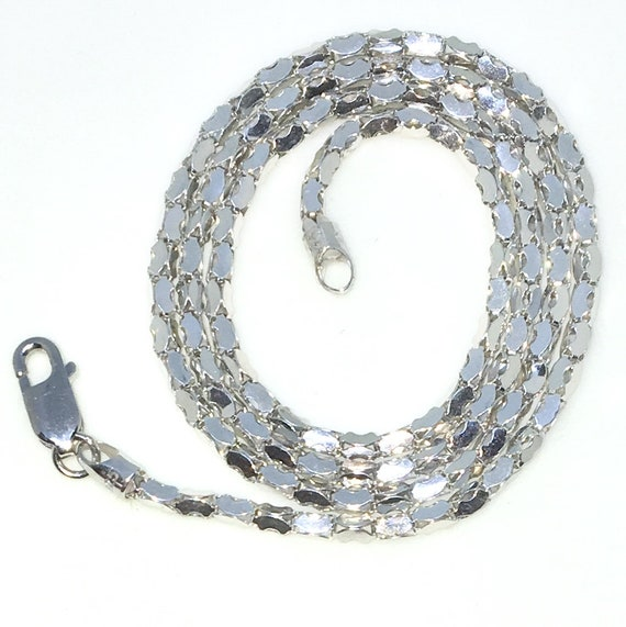 New White Gold Layered 925 Solid Sterling Silver 16 inch plain artistic cube Chain Necklace with Lobsterclaw clasp