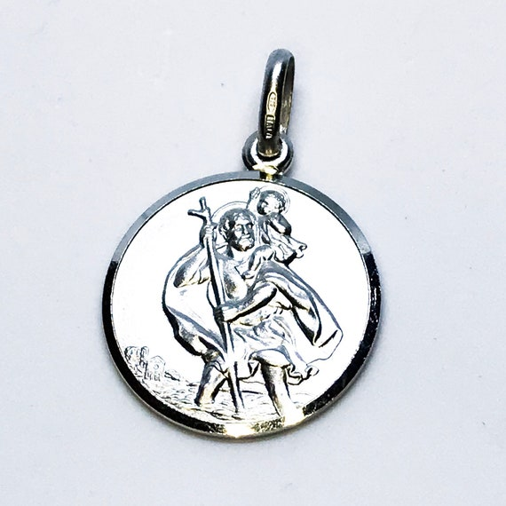 NEW 14K White Gold Layered on .990 Sterling Silver Matte Small Religious Circle Plate Pendant