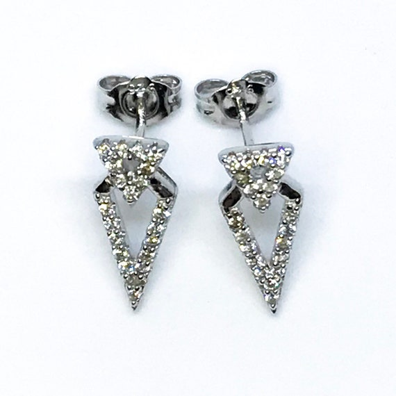 14K White Gold on Sterling Silver Unique Arrow Earrings