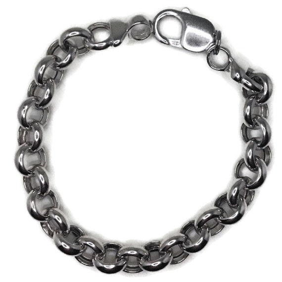 White gold layer on silver Bracelet Large Round Rolo chain 7 inch