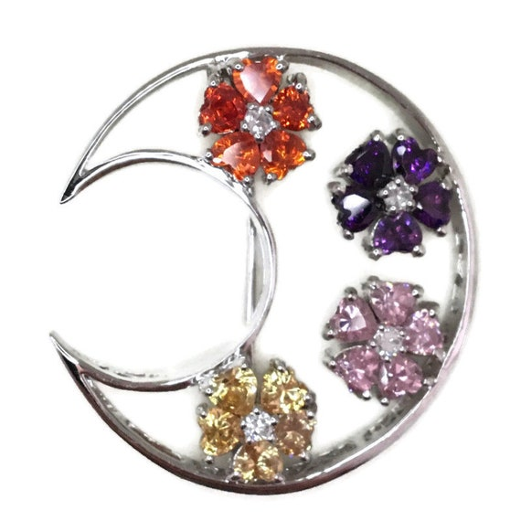 White gold on Silver Pin Crescent moon with multi color heart CZ