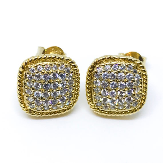 18K yellow gold on sterling silver round square earrings