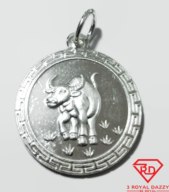 Chinese Zodiac Horoscope 999 fine Silver Round Year of Ox Pendant charm