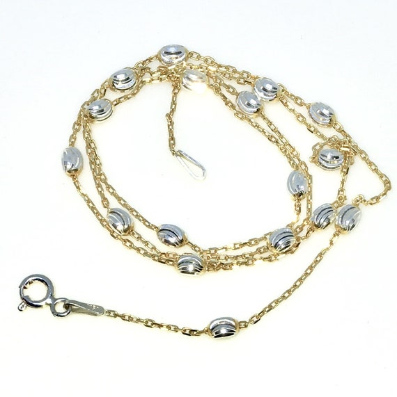 New Yellow Gold Layered 925 Solid Sterling Silver 18 inch Diamond Cut Silver Oval beads & Cable Chain Necklace with springring clasp