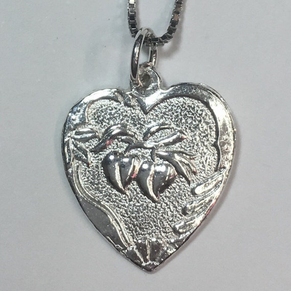 """New 925 Silver Chinese Character Writing """"Longevity"""" and  plum Heart Charm Pendant Reversible Design"""